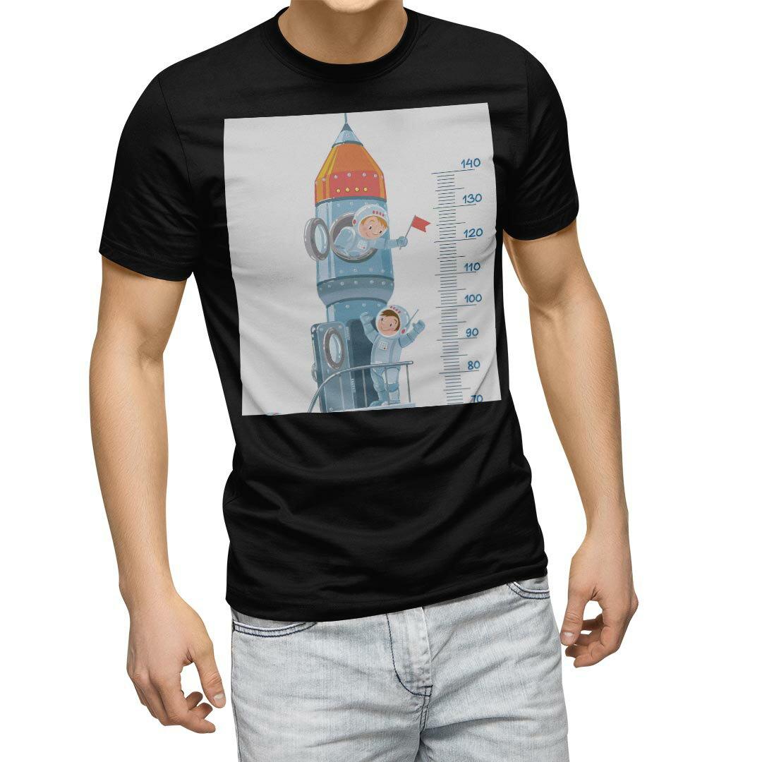 tシャツ メンズ 半袖 ブラック デザイン XS S M L XL 2XL Tシャツ ティーシャツ T shirt 黒 013693 ウォールステッカー 身長計