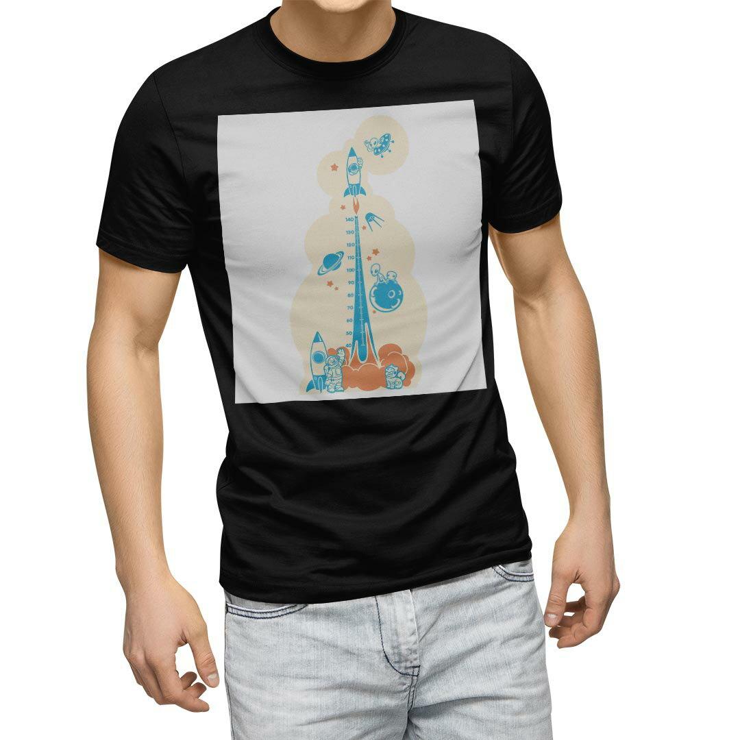tシャツ メンズ 半袖 ブラック デザイン XS S M L XL 2XL Tシャツ ティーシャツ T shirt 黒 013694 ウォールステッカー 身長計