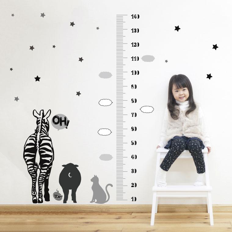 ウォールステッカー 身長計 メモ付き 記念 目盛り 子供部屋 動物 北欧 90×60cm シール式 装飾 おしゃれ 壁紙 はがせる 剥がせる カッティングシート wall sticker 雑貨 DIY プチリフォーム