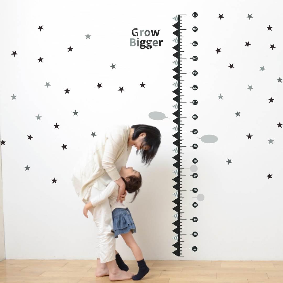 ウォールステッカー 身長計 メモ付き 記念 目盛り 子供部屋 動物 北欧 90×60cm シール式 装飾 おしゃれ 壁紙 はがせる 剥がせる