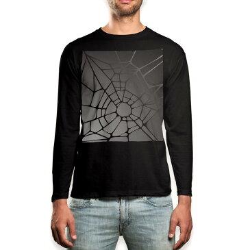 ロング tシャツ メンズ 長袖 ブラック デザイン XS S M L XL 2XL ロンT ティーシャツ 黒 black T shirt long sleeve 000362 クモの巣 グラデーション