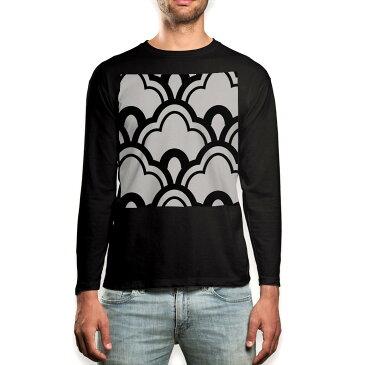 ロング tシャツ メンズ 長袖 ブラック デザイン XS S M L XL 2XL ロンT ティーシャツ 黒 black T shirt long sleeve 003767 和風 和柄 白 黒