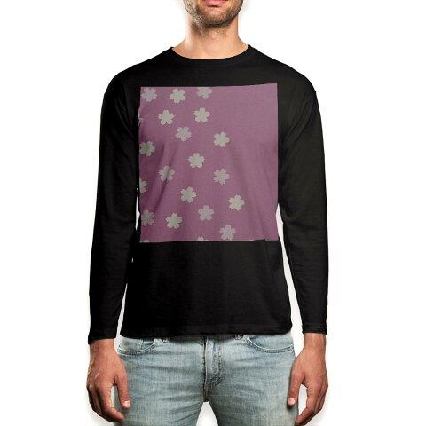 ロング tシャツ メンズ 長袖 ブラック デザイン XS S M L XL 2XL ロンT ティーシャツ 黒 black T shirt long sleeve 006988 花 フラワー ピンク