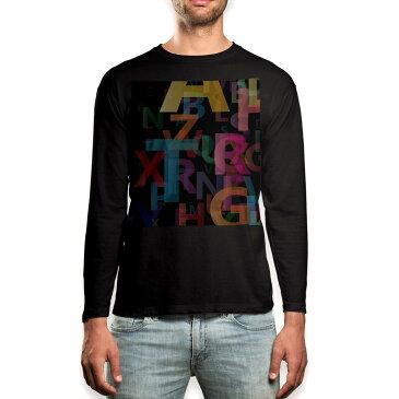 ロング tシャツ メンズ 長袖 ブラック デザイン XS S M L XL 2XL ロンT ティーシャツ 黒 black T shirt long sleeve 007067 英語 カラフル 文字
