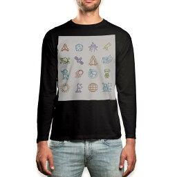 ロング tシャツ メンズ 長袖 ブラック デザイン XS S M L XL 2XL ロンT ティーシャツ 黒 black T shirt long sleeve 009895 宇宙 ロケット 乗り物