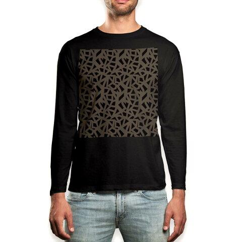 ロング tシャツ メンズ 長袖 ブラック デザイン XS S M L XL 2XL ロンT ティーシャツ 黒 black T shirt long sleeve 012040 黒 茶色 模様