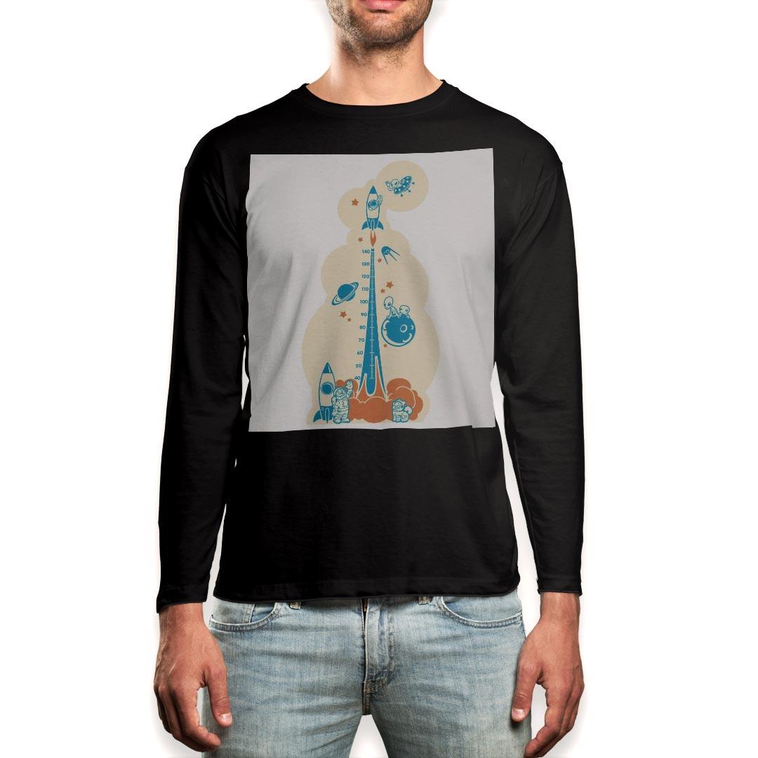 ロング tシャツ メンズ 長袖 ブラック デザイン XS S M L XL 2XL ロンT ティーシャツ 黒 black T shirt long sleeve 013694 ウォールステッカー 身長計