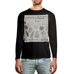 ロング tシャツ メンズ 長袖 ブラック デザイン XS S M L XL 2XL ロンT ティーシャツ 黒 black T shirt long sleeve 013885 夏 海 リーフ