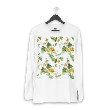ロング tシャツ メンズ 長袖 ホワイト グレー デザイン XS S M L XL 2XL Tシャツ ティーシャツ T shirt long sleeve 012093 ひまわり 花 白