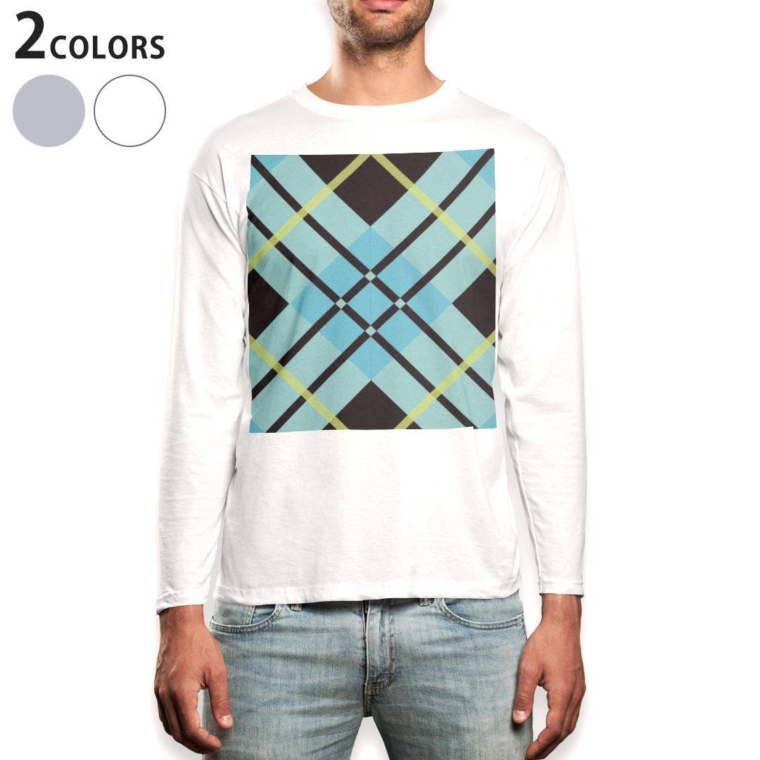 ロング tシャツ メンズ 長袖 ホワイト グレー デザイン XS S M L XL 2XL Tシャツ ティーシャツ T shirt long sleeve 004036 チェック 青 黒