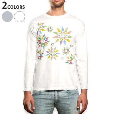 ロング tシャツ メンズ 長袖 ホワイト グレー デザイン XS S M L XL 2XL Tシャツ ティーシャツ T shirt long sleeve 006850 花 フラワー