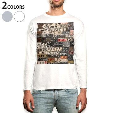 ロング tシャツ メンズ 長袖 ホワイト グレー デザイン XS S M L XL 2XL Tシャツ ティーシャツ T shirt long sleeve 008544 ナンバー プレート カラフル 写真