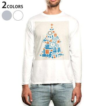 ロング tシャツ メンズ 長袖 ホワイト グレー デザイン XS S M L XL 2XL Tシャツ ティーシャツ T shirt long sleeve 009740 クリスマス ツリー 青