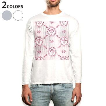ロング tシャツ メンズ 長袖 ホワイト グレー デザイン XS S M L XL 2XL Tシャツ ティーシャツ T shirt long sleeve 011013 花 フラワー ボーダー
