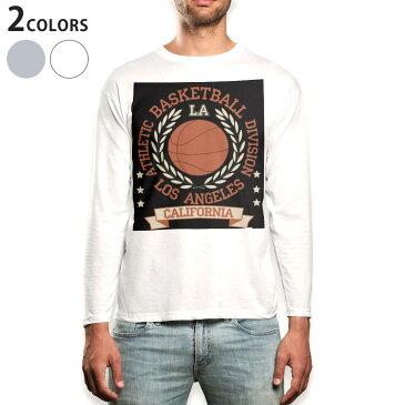 ロング tシャツ メンズ 長袖 ホワイト グレー デザイン XS S M L XL 2XL Tシャツ ティーシャツ T shirt long sleeve 012256 バスケ ボール 英語