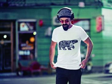 tシャツ メンズ 半袖 ホワイト グレー デザイン XS S M L XL 2XL Tシャツ ティーシャツ T shirt 014629 クマ 動物 アニマル