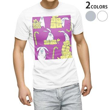 tシャツ メンズ 半袖 ホワイト グレー デザイン XS S M L XL 2XL Tシャツ ティーシャツ T shirt 004929 うさぎ キャラクター プレゼント