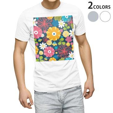 tシャツ メンズ 半袖 ホワイト グレー デザイン XS S M L XL 2XL Tシャツ ティーシャツ T shirt 005233 花 フラワー イラスト