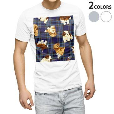 tシャツ メンズ 半袖 ホワイト グレー デザイン XS S M L XL 2XL Tシャツ ティーシャツ T shirt 008723 青 ブルー チェック 犬