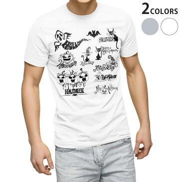 tシャツ メンズ 半袖 ホワイト グレー デザイン XS S M L XL 2XL Tシャツ ティーシャツ T shirt 014116 ハロウィン かぼちゃ おばけ