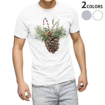 tシャツ メンズ 半袖 ホワイト グレー デザイン XS S M L XL 2XL Tシャツ ティーシャツ T shirt 015875 クリスマス 松ぼっくり 飾り