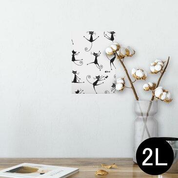 ポスター ウォールステッカー シール式ステッカー 飾り 127×178mm 2L 写真 フォト 壁 インテリア おしゃれ  剥がせる wall sticker poster 004604 猫 イラスト