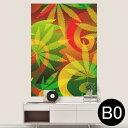 ポステッカー ポスター ウォールステッカー シール式ステッカー 飾り 1030mm×1456mm B0 写真 フォト 壁 インテリア おしゃれ 剥がせる wall sticker poster 011734 レゲエ 植物 カラフル