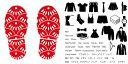 デザイン靴置きステッカー 大人用靴置き マーク くつ 収納 シール ステッカー 整理整頓 ウォールステッカー ラベルシール ミニマリスト 服 玄関 60×30cm 003727 模様 赤 白