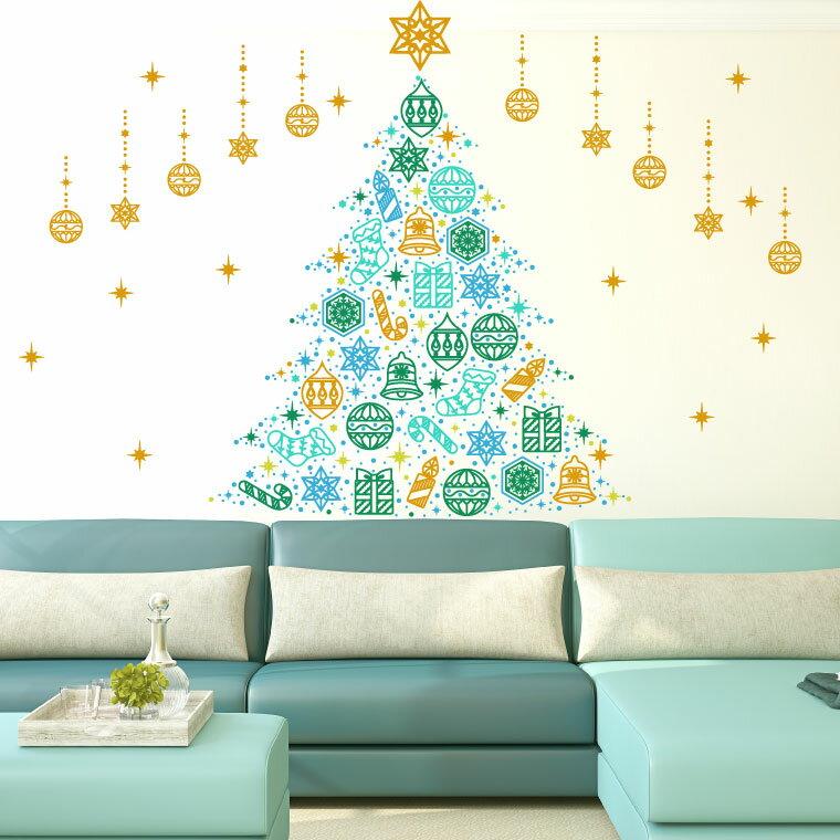 ウォールステッカー クリスマス Christmas 飾り 90×90cm Lsize シール式 装飾 オーナメント ツリー リース 2020 xmas Xmas 壁紙 はがせる 剥がせる カッティングシート wall sticker 雑貨 DIY サンタ プチリフォーム パーティー イベント 賃貸 サンタ