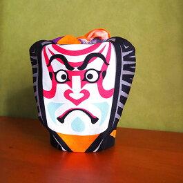 手ぬぐいハンカチ歌舞伎隈取市松(グレー)歌舞伎KABUKI和柄伝統文化タオルスカーフ風呂敷敷物