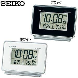 セイコー 目覚まし ブラック ホワイト 置き時計 アラーム デジタル スヌーズ