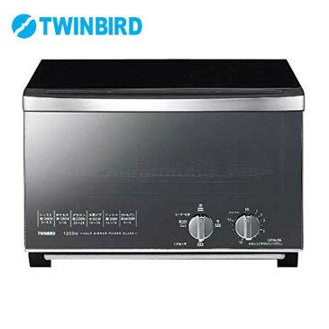 ミラーガラスオーブントースター TS-D048Bキッチン家電 調理家電 ダイヤル式 ブラック 黒 おしゃれ 食パン4枚 トースト4枚 トースター 1200W TWINBIRD ツインバード【D】