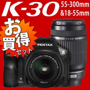 【6/29発売】 【Class10 SDHCカード16GB&予備バッテリー付!】 ペンタックス K-30 ダブルズー...