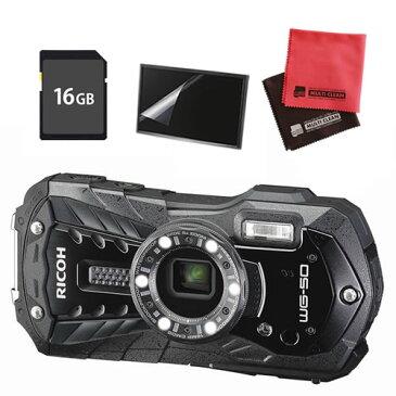 【SDカードセット】 リコー RICOH WG-50 ブラック 防水・防塵・耐衝撃・防寒 デジタルカメラ 【快適家電デジタルライフ】