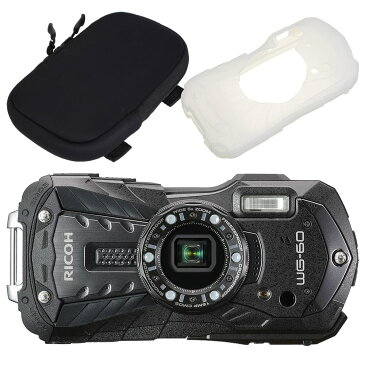 【カメラポーチ&シリコンジャケットセット】 リコー RICOH WG-60 ブラック 防水・防塵・耐衝撃・防寒 デジタルカメラ(快適家電デジタルライフ)