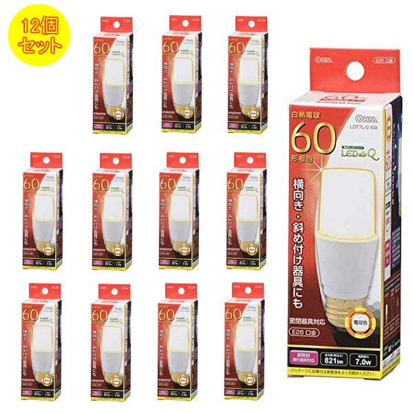【12本セット】オーム電機 LED電球 LDT7L-G IS9 (06-0231) [60W形相当/E26][電球色]