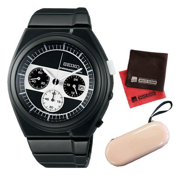 【セット】【国内正規品】[セイコー]SEIKO 腕時計 SCED065 [セイコーセレクション]SEIKO SELECTION ジウジアーロ・デザイン ホワイトマウンテニアリング エクスクルーシブ 限定&腕時計ケース1本用(ベージュ)&クロス 2枚セット:快適家電 デジタルライフ