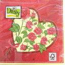 ペーパーナプキン[メール便OK] ランチサイズ ハートにバラがいっぱい バラ色 [Daisy]2枚入りペーパーナフキン・紙ナプキン・デコパージュ・フラワー・花・薔薇・ハート
