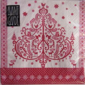 巾紙裝飾樹雞尾酒大小 20 前衛前衛德國製造的紙 Navin 與紙餐巾剪紙聖誕