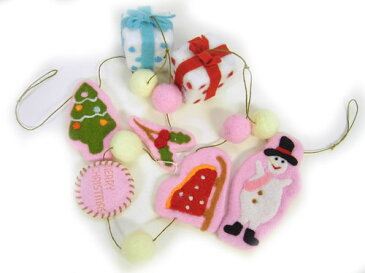 ロングフェルトガーランド3 スノーマン・ツリーとプレゼント 飾り付け・クリスマス