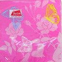 ペーパーナプキン[メール便OK]●カクテルサイズ●ピンクフラワーバタフライ[Joy Life]フラワーペーパーナフキン・紙ナプキン・デコパージュ