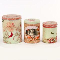 とっても可愛い見せる収納♪缶ケース 3個セット  女の子[Orval Creations]チョウ・花