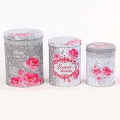 デザイン違いの缶 3個セット♪缶ケース 3個セット  フラワー [Orval Creations]花・収納