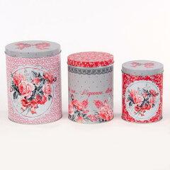 デザイン違いの缶 3個セット♪缶ケース 3個セット  ROSE [Orval Creations]チョウ・花・リボン