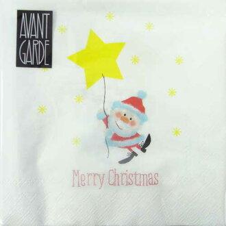 本文 [] 聖誕老人和星星氣球雞尾酒大小 20 前衛前衛德國製造的紙 Navin 與紙餐巾剪紙聖誕馴鹿的餐巾紙