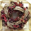 クリスマス ナチュラルリースS No.8440026レッドコーンクロスパインシャンパンラメ秋冬リース[その他]クリスマス