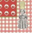 廃番在庫限り ペーパーナプキン PATISSERIE DE TRADITION [Comptoir de Famille]5枚入り ランチサイズ コントワール・ドゥ・ファミーユ ケーキ スイーツ 女の子 赤 チェック