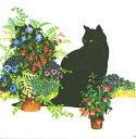 10枚ペーパーナプキン ランチサイズ 花だんの黒ねこ Black Cat Flowerppd[Paper Products Design]ドイツ製ネコ・猫・cat・フラワー・春