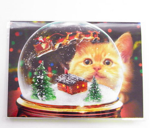 ポップアップ クリスマスカード キャットスノーグローブ[AVANTI]ねこメッセージ・ギフトカード・グリーティング
