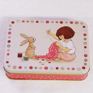 ちょっとした小物入れに♪スクエアボックス 私とウサギ・裁縫ベル&ブー[Belle&Boo]缶ケース